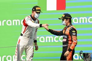 Luca Ghiotto, HITECH GRAND PRIX and Race Winner Felipe Drugovich, MP Motorsport celebrate on the podium