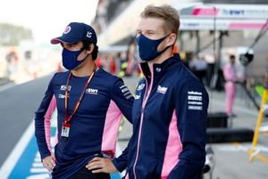 Lance Stroll, Racing Point and Nico Hulkenberg, Racing Point speak to the media
