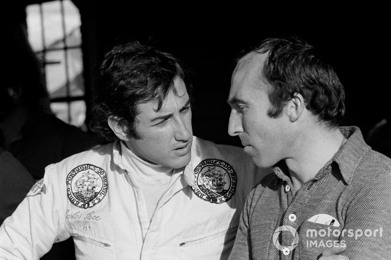 Carlos Pace con Frank Williams, propietario del equipo Williams