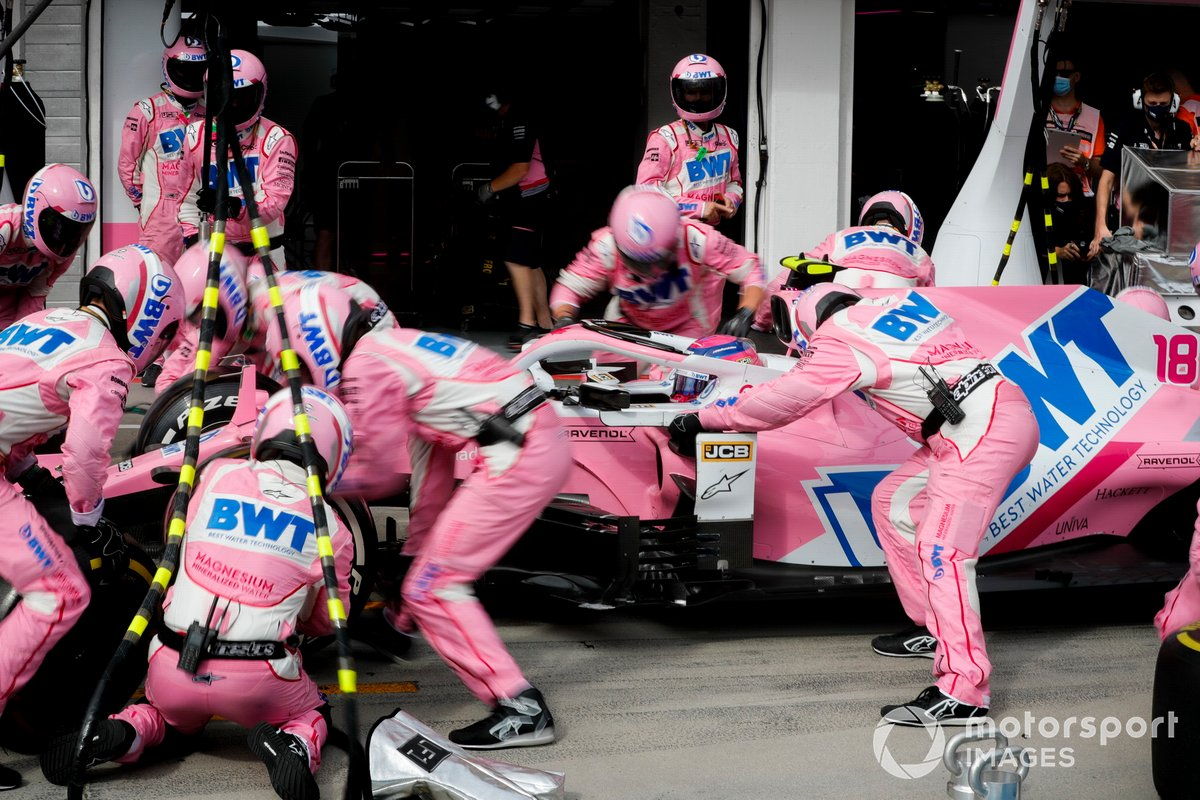 Lance Stroll, Racing Point RP20 pit stop