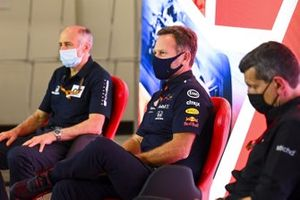 Franz Tost, Team Principal, AlphaTauri, Christian Horner, Team Principal, Red Bull Racing and Guenther Steiner, Team Principal, Haas F1 in the press conference