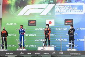 Robert Shwartzman, Prema Racing, 2nd position, Nobuharu Matsushita, MP Motorsport, 1st position, and Guanyu Zhou, UNI-VIRTUOSI, 3rd position, on the podium