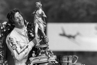 Race winner Jochen Rindt, Lotus with the trophy