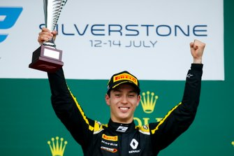 Race winner Jack Aitken, Campos Racing celebrates on the podium with the trophy
