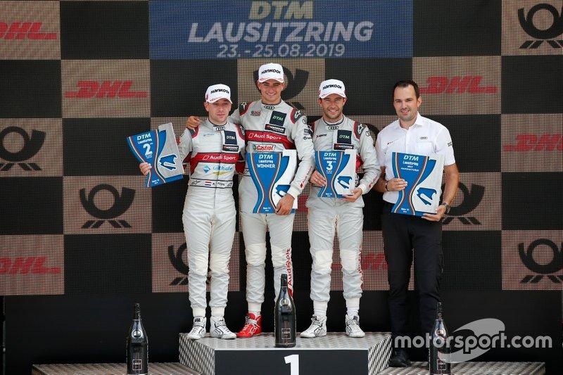 Podium: Race winner Nico Müller, Audi Sport Team Abt Sportsline, Robin Frijns, Audi Sport Team Abt Sportsline, Mike Rockenfeller, Audi Sport Team Phoenix