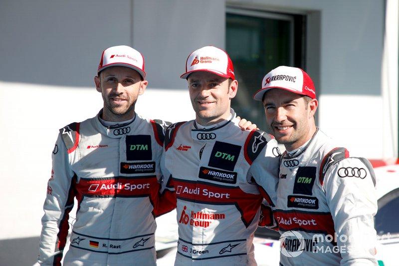 Top 3 after Qualifying, Pole sitter Jamie Green, Audi Sport Team Rosberg, René Rast, Audi Sport Team Rosberg, Mike Rockenfeller, Audi Sport Team Phoenix