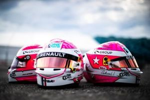 Tribute helmets as worn by Jack Aitken, CAMPOS RACING, Guanyu Zhou, UNI VIRTUOSI, Christian Lundgaard, ART Grand Prix, Max Fewtrell, ART Grand Prix and Ye Yifei, Hitech Grand Prix