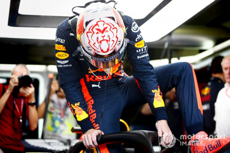 Max Verstappen, Red Bull Racing, climbs into his car