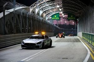 Safety Car leads Sebastian Vettel, Ferrari SF90 and Charles Leclerc, Ferrari SF90