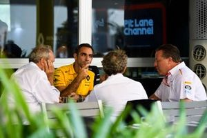 Alain Prost, Renault F1 Team, Jerome Stoll, President of Renault Sport F1, Cyril Abiteboul, Managing Director, Renault F1 Team and Zak Brown, Executive Director, McLaren