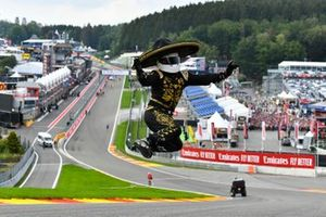 Mario Achi performs a leap at Eau Rouge