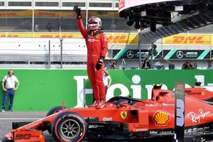 Pole Sitter Charles Leclerc, Ferrari celebrates in Parc Ferme