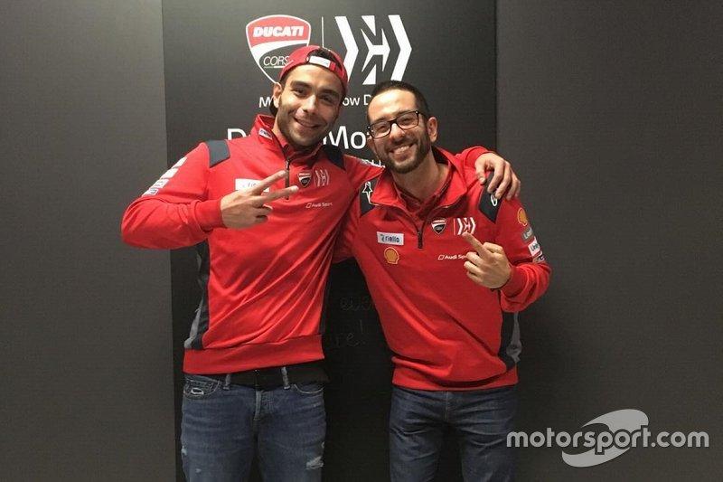 Danilo Petrucci, Ducati Team e Luca Semprini, addetto stampa