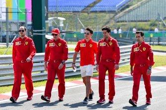 Charles Leclerc, Ferrari walks the track with his team