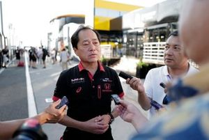 Toyoharu Tanabe, F1 Technical Director, Honda talks to the media