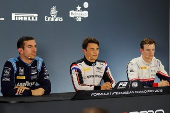 Nicholas Latifi, Dams, pole winner Nyck De Vries, ART Grand Prix, and Callum Ilott, Sauber Junior Team by Charouz in the qualifying press conference