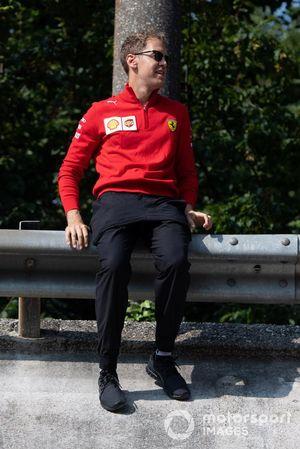 Sebastian Vettel, Ferrari sits on the top of Monza banking
