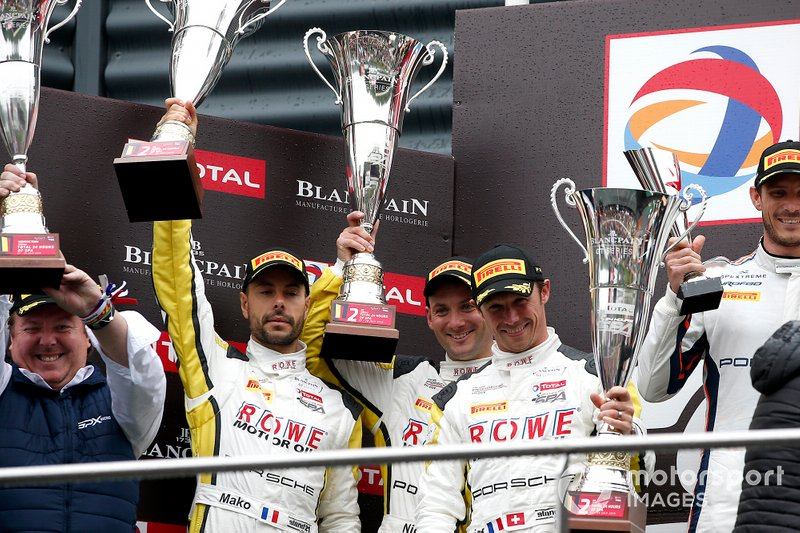 Podium: second place #998 ROWE Racing Porsche 911 GT3 R: Frédéric Makowiecki, Patrick Pilet, Nick Tandy