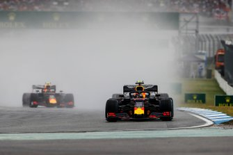 Max Verstappen, Red Bull Racing RB15, leads Valtteri Bottas, Mercedes AMG W10, and Pierre Gasly, Red Bull Racing RB15