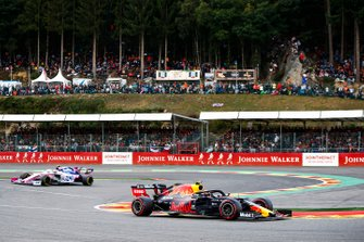 Alex Albon, Red Bull RB15, leads Lance Stroll, Racing Point RP19
