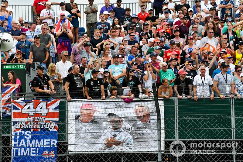 Lewis Hamilton, Mercedes AMG F1 fans in the grandstand