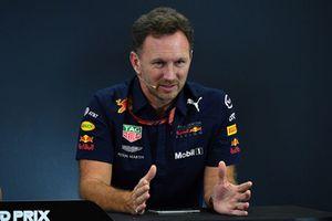 Christian Horner, directeur de Red Bull Racing, lors de la conférence de presse