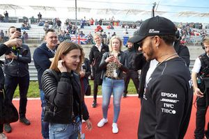 Actress Millie Bobby Brown meets Lewis Hamilton, Mercedes AMG F1