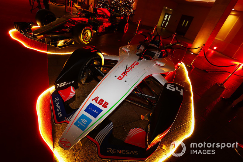 A Mahindra Formula E car on the red carpet