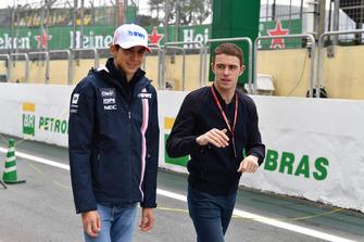 Esteban Ocon, Racing Point Force India and Paul di Resta, Sky TV