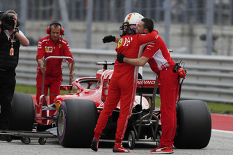 Sebastian Vettel, Ferrari celebrates with his team in parc ferme