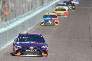 Denny Hamlin, Joe Gibbs Racing, Toyota Camry FedEx Express, Kyle Busch, Joe Gibbs Racing, Toyota Camry M&M's, Joey Logano, Team Penske, Ford Fusion Shell Pennzoil