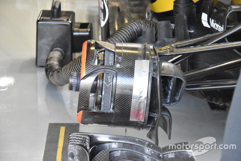 Detalle del freno delantero del Renault Sport F1 Team R.S. 18
