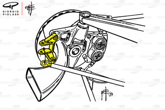 Передняя подвеска Ferrari 312B3, поворотный кулак