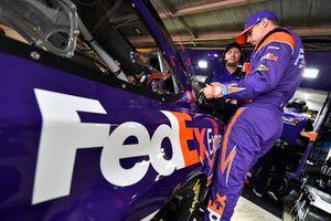 Denny Hamlin, Joe Gibbs Racing, Toyota Camry FedEx Express and Michael Wheeler