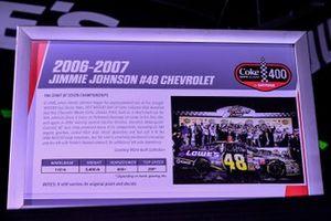 Un homenaje al Chevy 2006-2007 #48 de Jimmie Johnson y el comienzo de sus siete victorias en el campeonato, expuesto en el Chevy Injector del Daytona International Speedway.