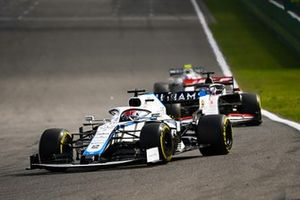 George Russell, Williams FW43, Romain Grosjean, Haas VF-20, and Nicholas Latifi, Williams FW43