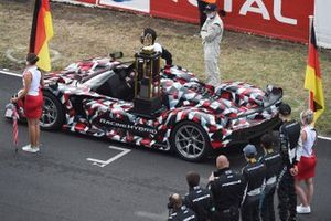 The 24 Hours of Le Mans trophy is delivered on a Toyota Hypercar
