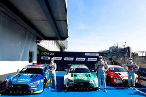 Top 3 after Qualifying, Pole sitter Nico Müller, Audi Sport Team Abt Sportsline, Robin Frijns, Audi Sport Team Abt Sportsline, René Rast, Audi Sport Team Rosberg