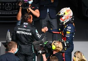 Lewis Hamilton, Mercedes-AMG F1, and Max Verstappen, Red Bull Racing, congratulate each other in Parc Ferme after Qualifying