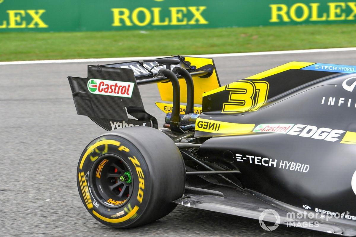 El alerón trasero del monoplaza de Esteban Ocon, Renault F1 Team R.S.20