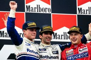 Podium: 1. Damon Hill, 2. David Coulthard, 3. Mika Häkkinen