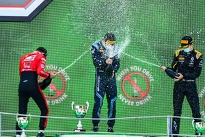 Callum Ilott, UNI-Virtuosi, Race Winner Dan Ticktum, Dams and Christian Lundgaard, ART Grand Prix celebrate on the podium with the champagne