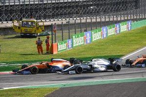 Carlos Sainz Jr., McLaren MCL35, Nicholas Latifi, Williams FW43, and Lando Norris, McLaren MCL35