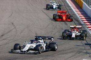 Daniil Kvyat, AlphaTauri AT01, Antonio Giovinazzi, Alfa Romeo Racing C39, Sebastian Vettel, Ferrari SF1000, and Nicholas Latifi, Williams FW43