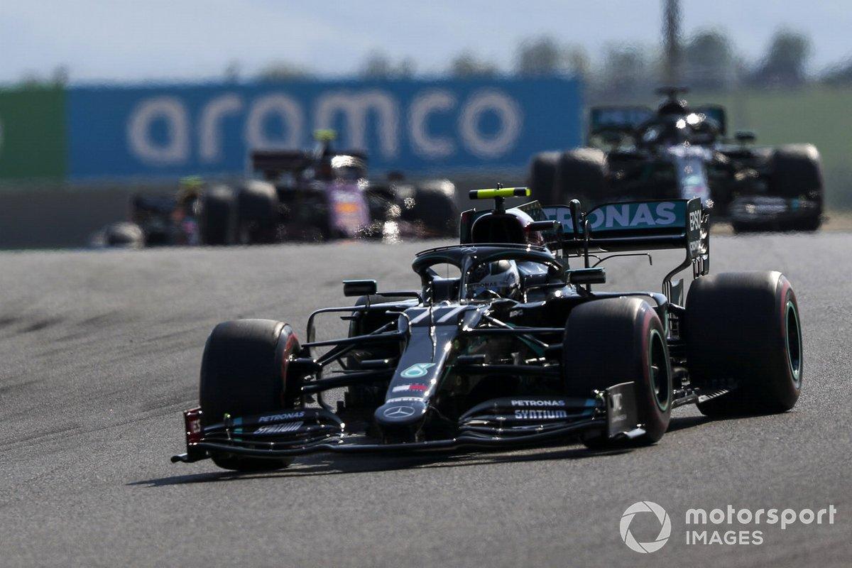Valtteri Bottas, Mercedes F1 W11, Lewis Hamilton, Mercedes F1 W11, and Charles Leclerc, Ferrari SF1000