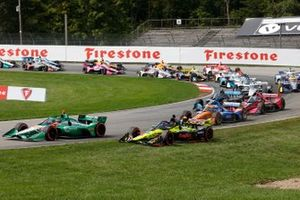 Felix Rosenqvist, Chip Ganassi Racing Honda, Colton Herta, Andretti Harding Steinbrenner Autosport Honda, start, crash