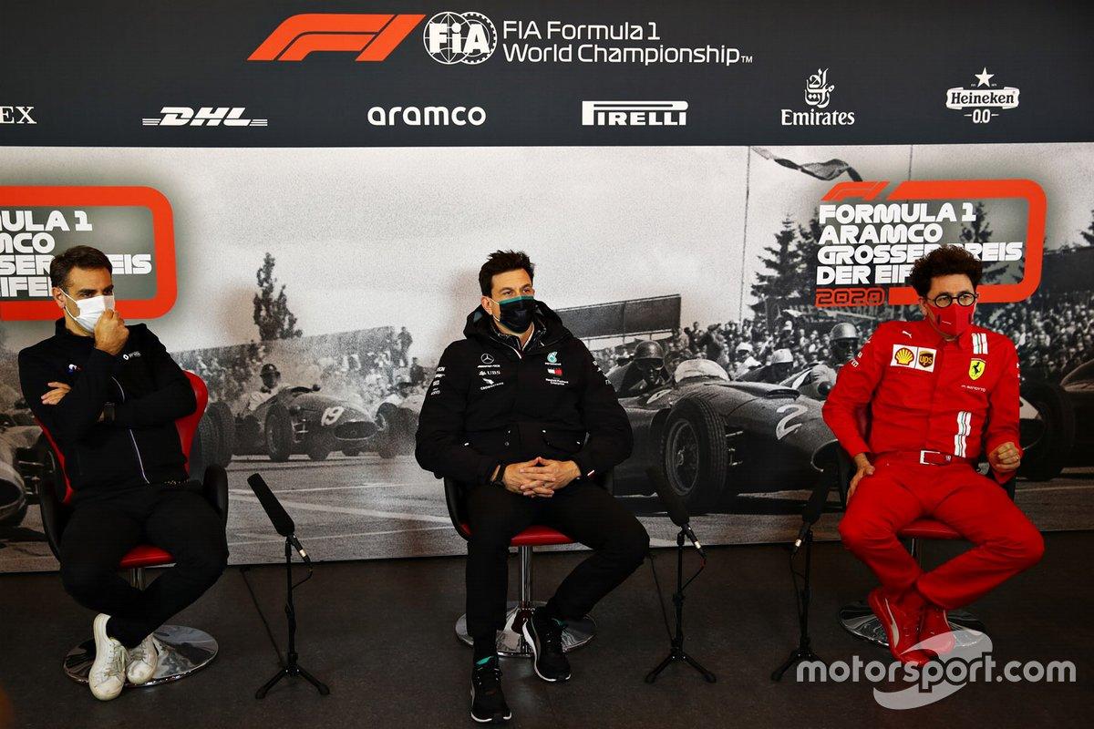 Cyril Abiteboul, Director General, Equipo Renault F1, Toto Wolff, Director Ejecutivo Mercedes AMG, Mattia Binotto Director de Ferrari