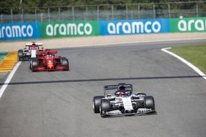 Daniil Kvyat, AlphaTauri AT01, Sebastian Vettel, Ferrari SF1000, and Kimi Raikkonen, Alfa Romeo Racing C39