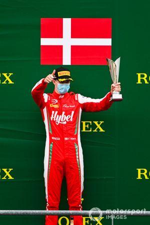 Frederik Vesti, Prema Racing celebrates on the podium with the trophy