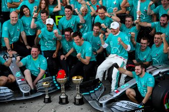 Valtteri Bottas, Mercedes AMG F1, 1st position, Lewis Hamilton, Mercedes AMG F1, 3rd position, and the Mercedes team celebrates after securing the 2019 Constructors Championship